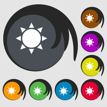 Sun icon. Symbols on eight colored buttons. Vector