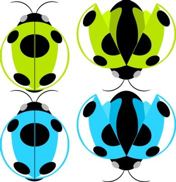 Beetle green and cyan fly cartoon illustration