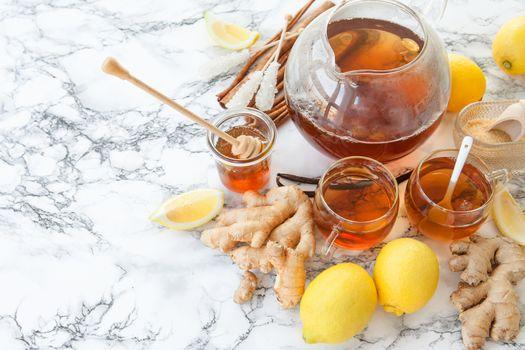 Freshly brewed ginger tea
