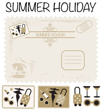 Travel card, post stamps, voyage, summer holiday set icons and backgrounds
