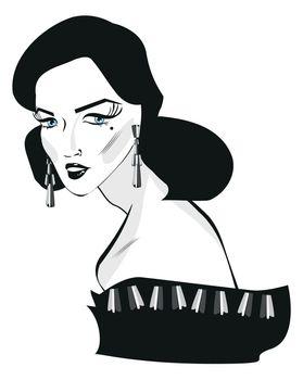 Retro woman pop art face Portrait black and white