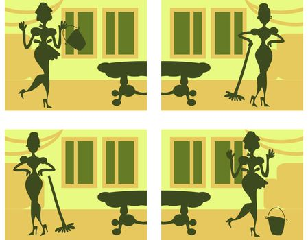Silhouette Helpful Housewife background
