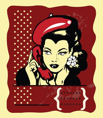 Beauty Retro Girl Portrait  Beautiful Woman Face talking by phone on polka dot Background. Pretty Girl Touching her Face