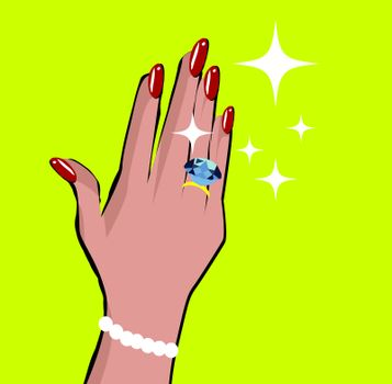 Female hand with wedding ring love background in pop art comic style