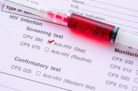HIV infection screening test form.