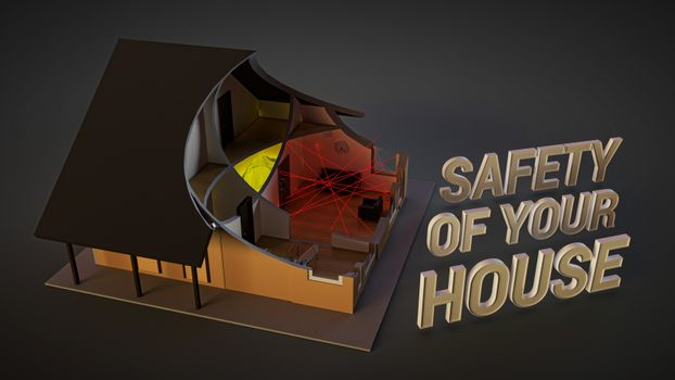 home security system. Illustration about safety with image of house in cut. lasers, motion detectors, surveillance cameras, and safe deposit facilities