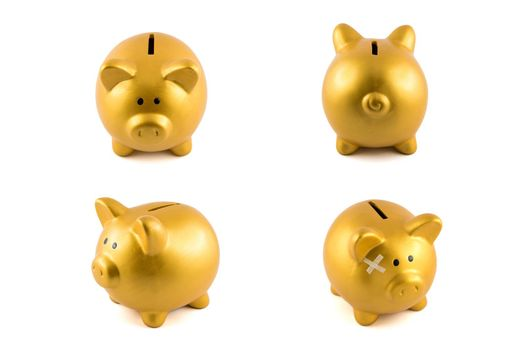 Gold piggy bank set in four actions on isolated white background