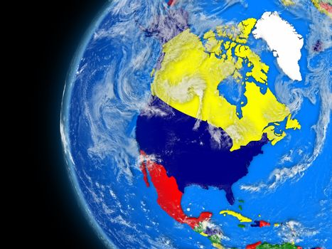 north american continent on political globe