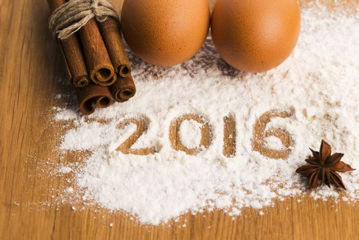The inscription on the flour 2016