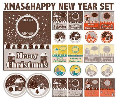 Merry Christmas and Happy New Year cards and backgrounds / lable