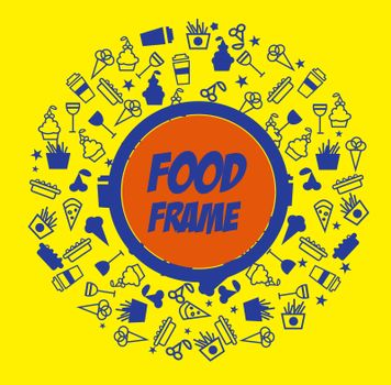 Food icons in circle with lable title and background