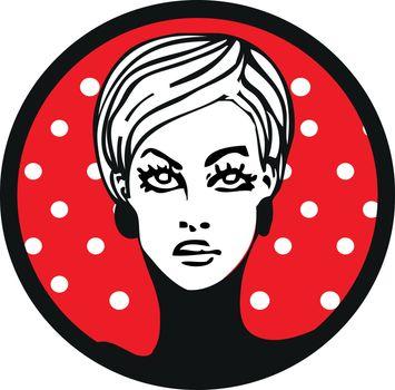 pop art womam lable emblem sticker