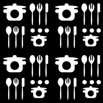 monochromatic black white seamless cutlery pattern