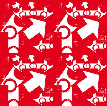 arrow white & grunge on red seamless pattern