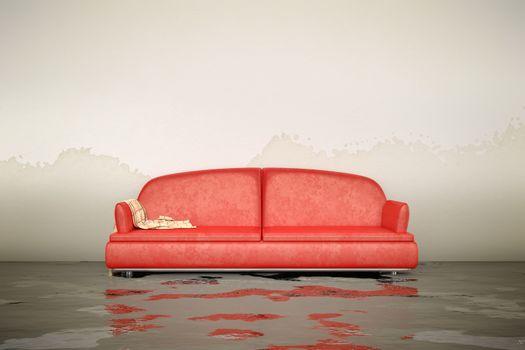water damage sofa