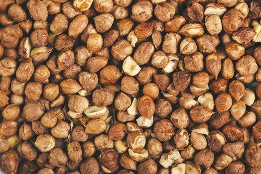 Ripe hazelnuts as background