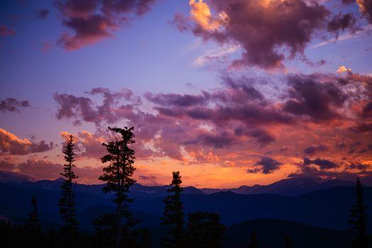 Mountain Landscape Sunset. Sunset Colorado Cloudscape