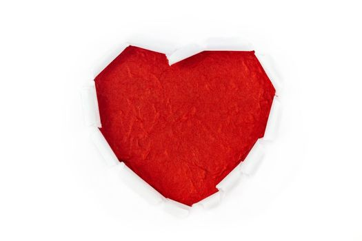 heart love ripped on white background