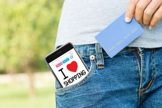 easy shopping online everywhere with phone and credit card