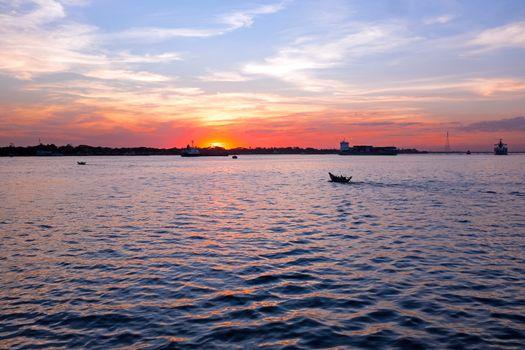 Sunset at the Yangon river in Yangon Myanmar