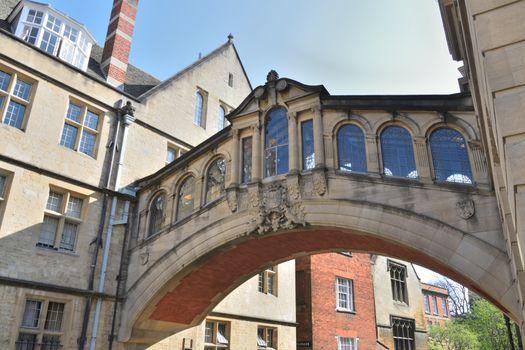 Looking up at Bridge of Sighs Oxford UK