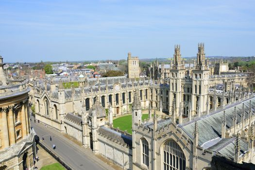view of oxford from top of church tower