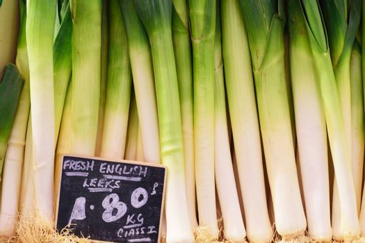 English leeks for sale in market