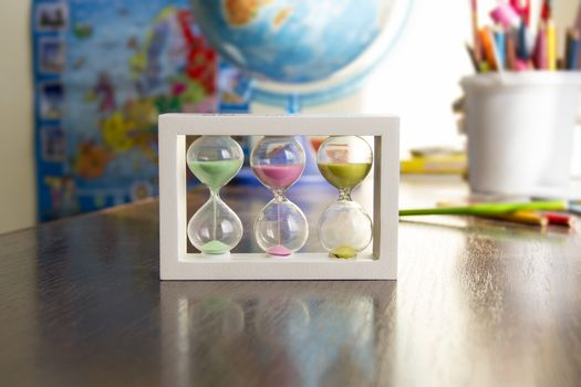 Hourglass with colored sand