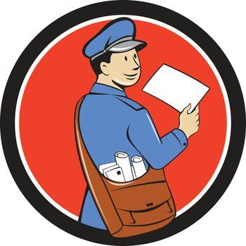 Mailman Deliver Letter Circle Cartoon