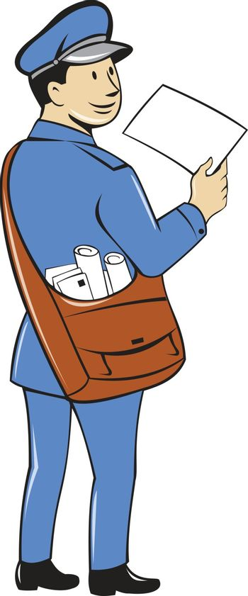 Mailman Deliver Letter Isolated Cartoon