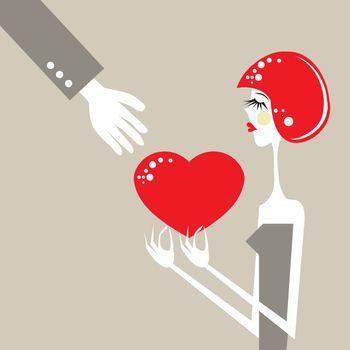 heart love emotional exchange romance valentine illustration woman in love