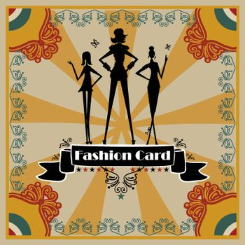Fashion Woman silhouette card, background, poster retro style
