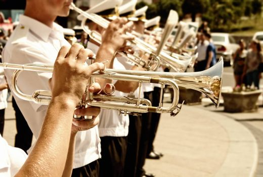 Trumpet players in a military band