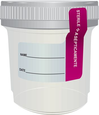 Sterile plastic container for medical analyzes