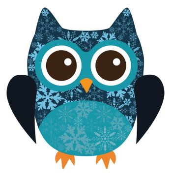 vector illustration of fun owl with snowflakes
