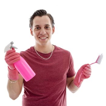 Young man with cleaning supply over white background