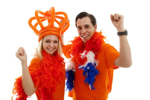 Couple of Dutch soccer supporters cheer over white background
