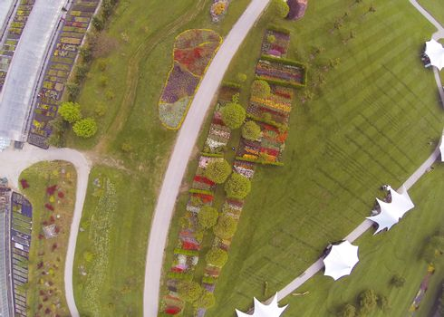 Aerial view on Arboretum in Volcji Potok in SLovenia