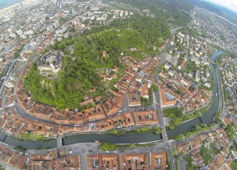 Areal photo of Ljubljana, capital of Slovenia. View from above on the historic centre of the city.