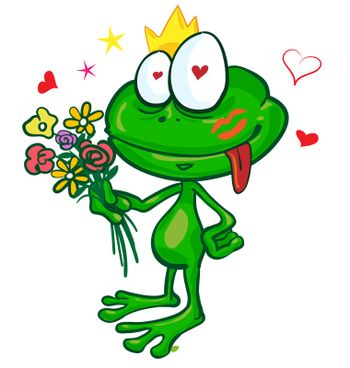 frog cartoon with  flowers isolated on white