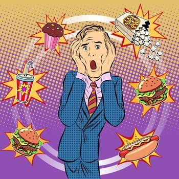 Fast food man unhealthy diet panic
