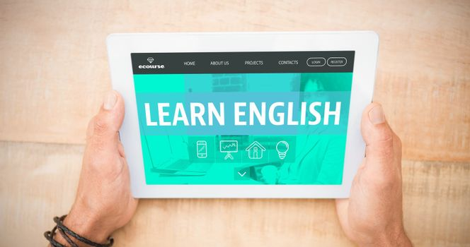 Composite image of learn english interface
