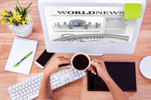 Composite image of international newspaper
