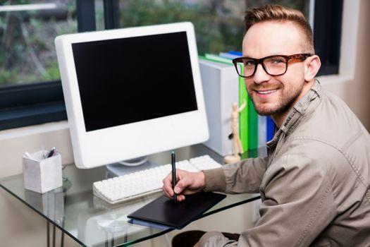 Casual designer using graphic designer