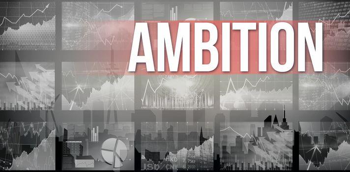 Ambition against cityscape silhouette