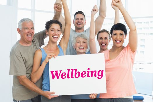 Wellbeing against grey wall