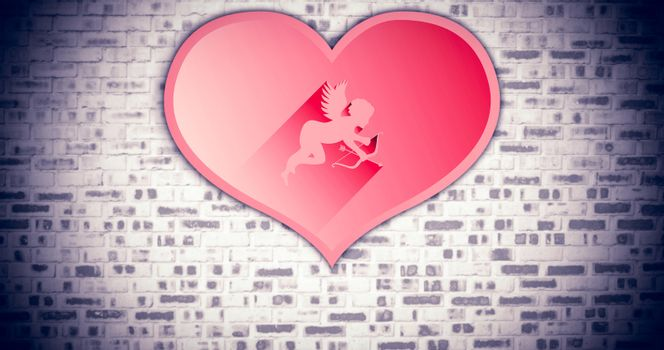 Composite image of cupid in heart