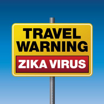 A yellow caution travel warning sign for the Zika Virus. Vector EPS 10 available.
