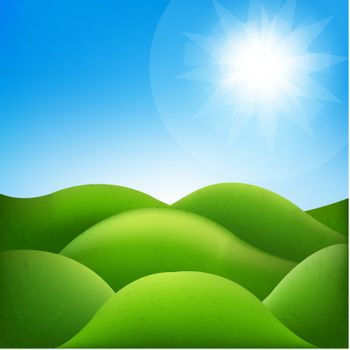 Fantastic Landscape With Gradient Mesh, Vector Illustration
