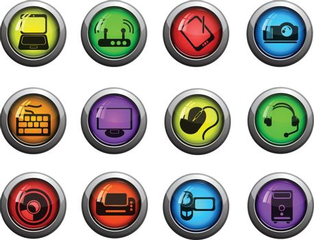 Computer technology round glossy icons for web site and user interfaces
